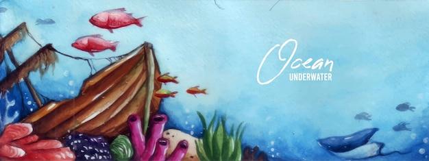 Het kunstwerk van aquarellen heeft het thema van het leven op de zeebodem waar een zeilbootwrak is voor een plek om te spelen met verschillende soorten vissen en koraalriffen eromheen.