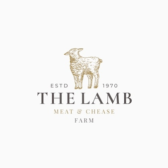 Het lam vlees en chease boerderij abstracte teken