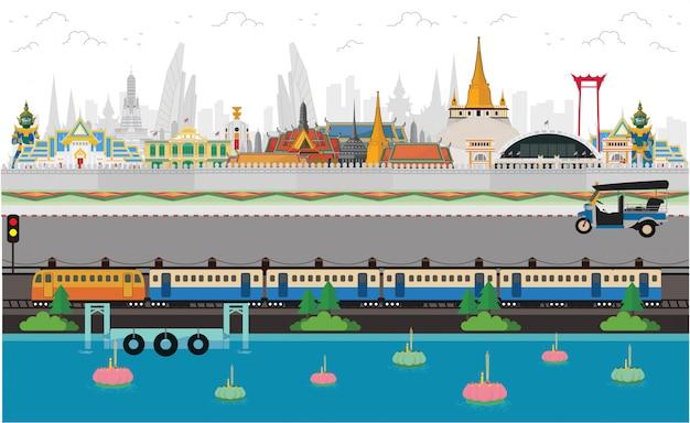 Het land van thailand van glimlach. bangkok in thailand en monumenten en reizen