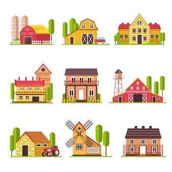 Het landbouwbedrijfhuis met korrel en veevoederschuur of vee drijft vector vlakke geplaatste beeldverhaalpictogrammen bijeen
