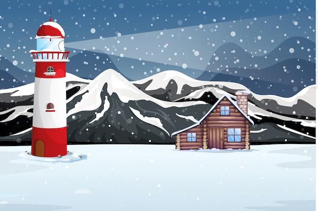Het landelijke landschap van de de winternacht
