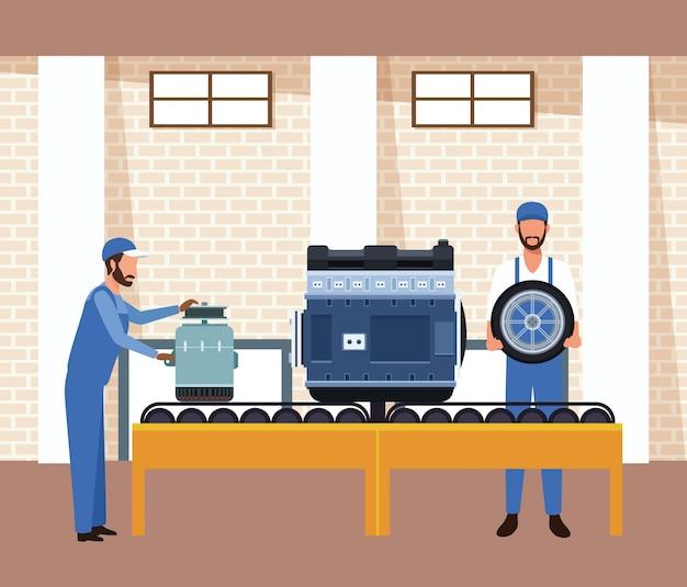 Het landschap van de autoworkshop met arbeiders met autodelen op bandmachine