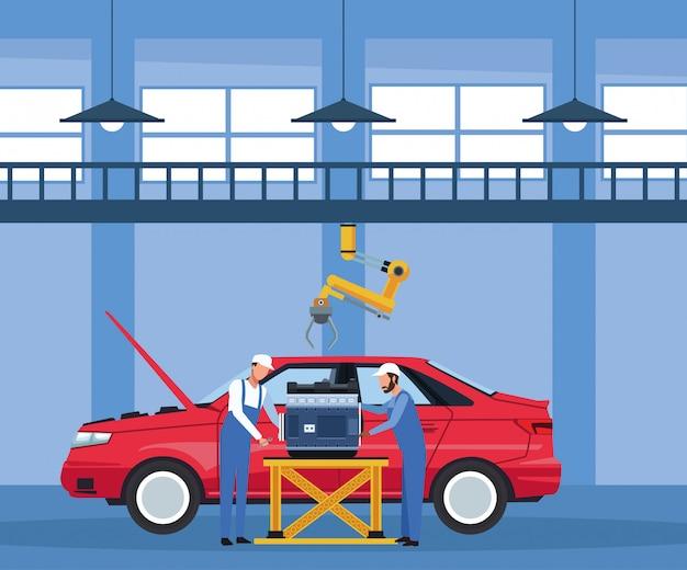 Het landschap van de autoworkshop met werktuigkundigen die aan motor over rode auto werken