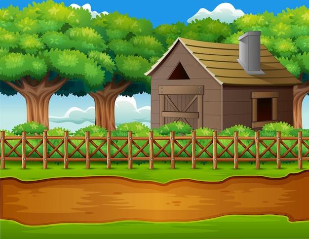 Het landschap van de boerderij met loods en groene installaties