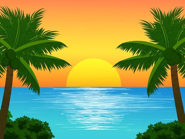 Het landschap van de strandzonsondergang met kokospalmen