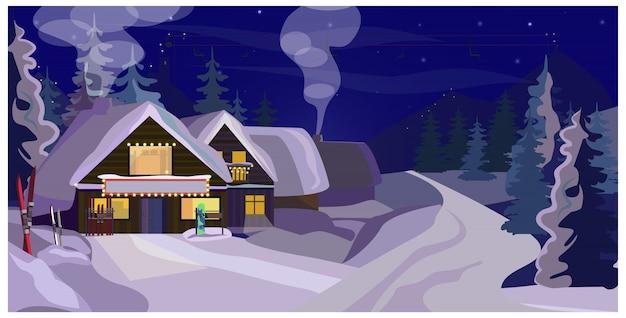 Het landschap van de winter met de illustratie van gasthuizen