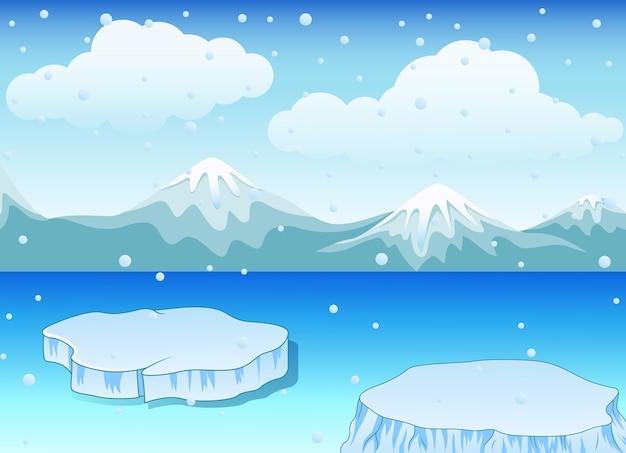 Het landschap van de winter met sneeuwbergen en ijsschots