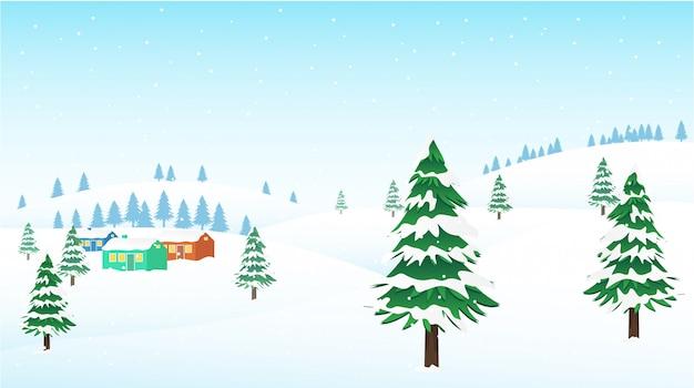 Het landschap van de winterbergen met weinig toevluchtdorp. illustratie
