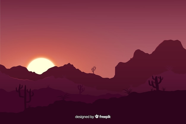 Het landschap van de zonsondergangwoestijn met gradiëntkleuren