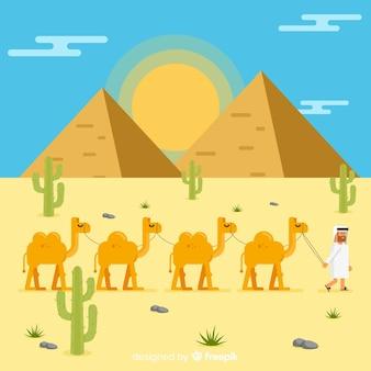 Het landschap van egypte met caravan
