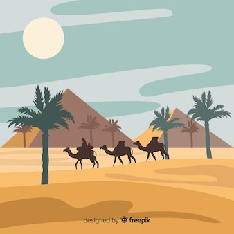 Het landschapsachtergrond van de egyptewoestijn in vlak ontwerp