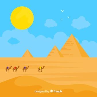 Het landschapsachtergrond van egypte met piramides en kamelen
