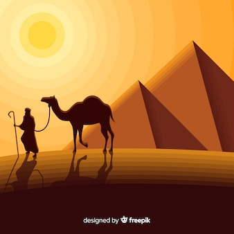 Het landschapsconcept van egypte met piramides en caravan