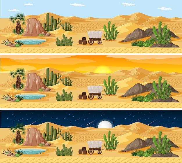 Het landschapsscène van de woestijnaard op verschillende tijdstippen van de dag Gratis Vector