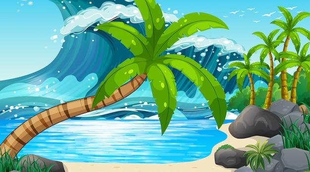 Het lege oceaan kustlandschap van het aardstrand