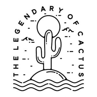 Het legendarische cactus monoline vintage outdoor badge-ontwerp