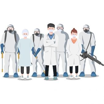 Het leger van medische staf staat klaar om te vechten tegen het coronavirus