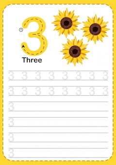 Het leren tellen nummer 3.