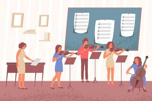 Het leren van muzieknota's vlakke samenstelling met binnenlandschap van academische muziekklasse met bureaus en mensenillustratie