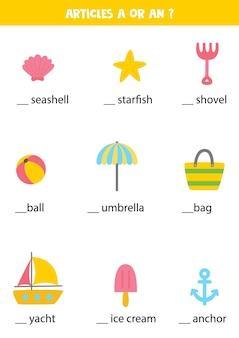Het leren van onbepaalde lidwoorden a en een voor kinderen. educatief werkblad. schrijf de ontbrekende artikelen.