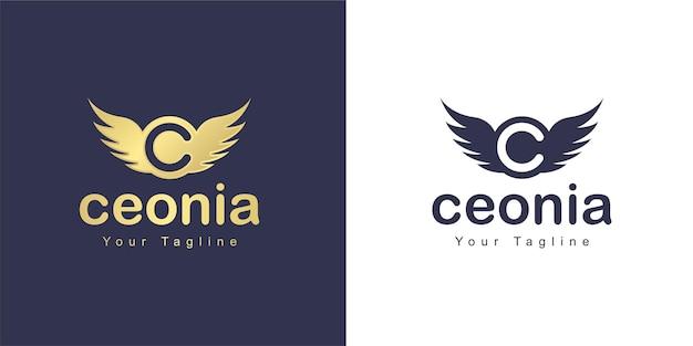 Het letter c-logo heeft een vliegend concept