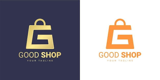 Het letter g-logo heeft een winkelconcept
