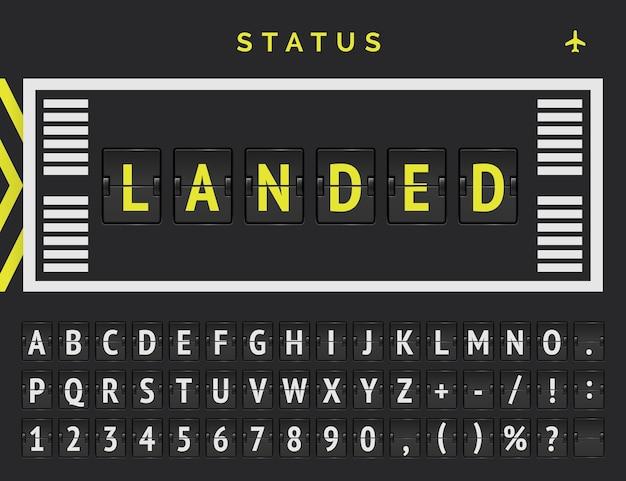Het lettertype vector flip kondigt aan dat de vlucht is geland. vluchtvertrekstatus in opmaakstijl voor landingsbanen.