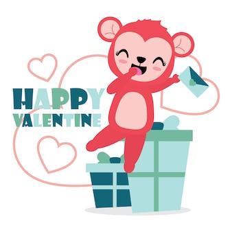 Het leuke aapmeisje is gelukkig krijgt liefdebrief en giftillustratie