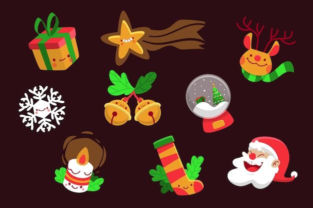 Het leuke assortiment van kerstmiselementen overhandigt getrokken