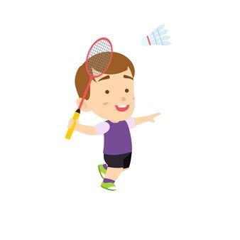 Het leuke badminton van de jongens verpletterende shuttle