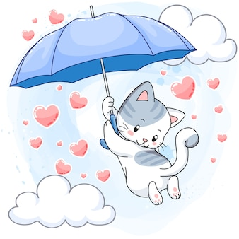 Het leuke bevlekte katje hangen op een blauwe paraplu en regenende harten