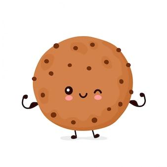 Het leuke gelukkige grappige chocoladekoekje toont spier. vector cartoon characterdesign illustratie. geïsoleerd
