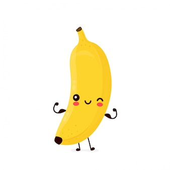 Het leuke gelukkige het glimlachen banaanfruit toont spier.