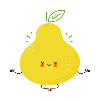 Het leuke grappige fruit van de peer mediteert in yoga stelt. hand getekend cartoon kawaii karakter illustratie. geïsoleerd op witte achtergrond. perenfruit mediteren concept