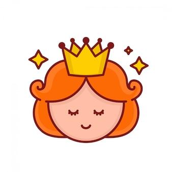Het leuke grappige het glimlachen gezicht van de meisjesprinses