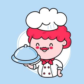 Het leuke grappige karakter van de chef-kok die een schotel serveert