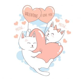 Het leuke hart van de liefde van de kat het leuke dierlijke valentine