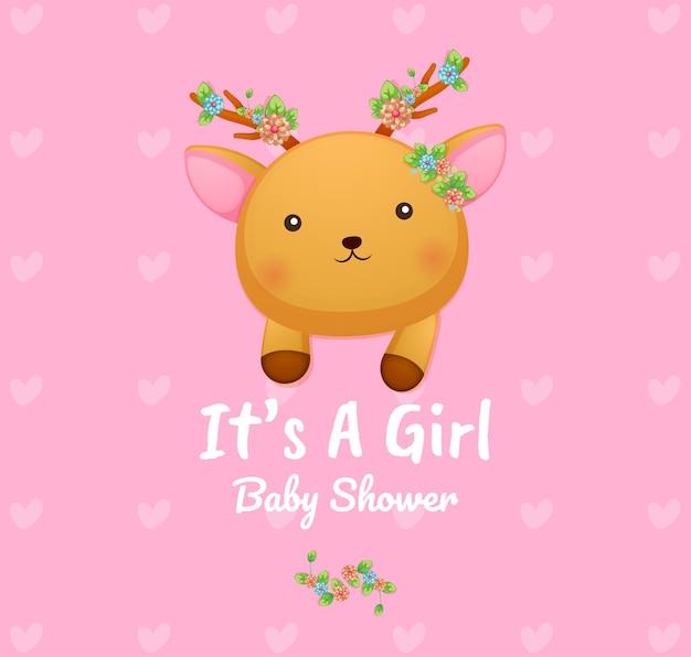Het leuke hert van het krabbelbaby het is een kaart van het meisjesbaby shower Premium Vector