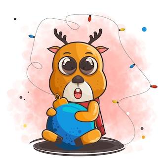 Het leuke hertenkarakter koestert de blauwe illustratie van de kerstmisbal