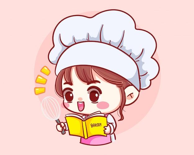Het leuke het meisje van de bakkerijchef-kok koken werken in restaurant met receptenboek en pollepel de illustratie van de het beeldverhaalkunst van het karakterbeeldverhaal.