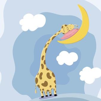 Het leuke hoofd van de girafslaap rust op het hoofdkussen