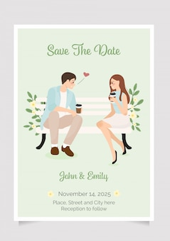 Het leuke jonge doel van het huwelijkspaar in de tijd van de ochtendkoffie. bruiloft uitnodigingskaart