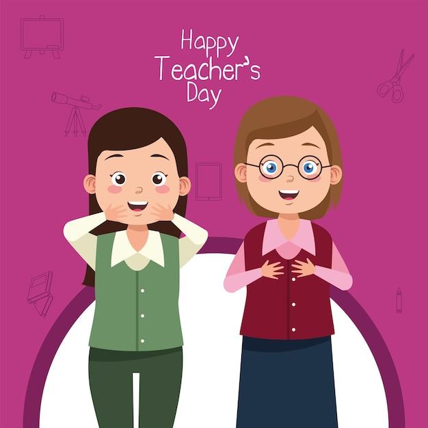 Het leuke jonge paar van lerarenvrouwen Premium Vector