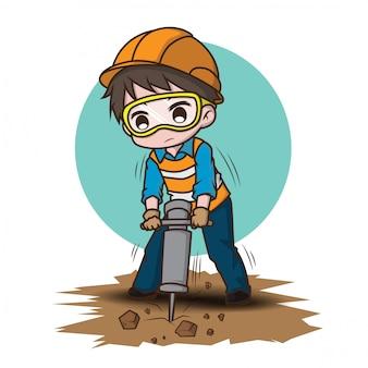 Het leuke karakter van het bouwvakkerbeeldverhaal, baanconcept