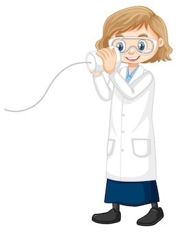 Het leuke karakter van het meisjesbeeldverhaal die de jas van het wetenschapslaboratorium dragen