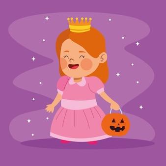 Het leuke kleine meisje kleedde zich als een ontwerp van de prinseskarakter vectorillustratie