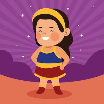 Het leuke kleine meisje kleedde zich als een ontwerp van de wondervrouwkarakter vectorillustratie