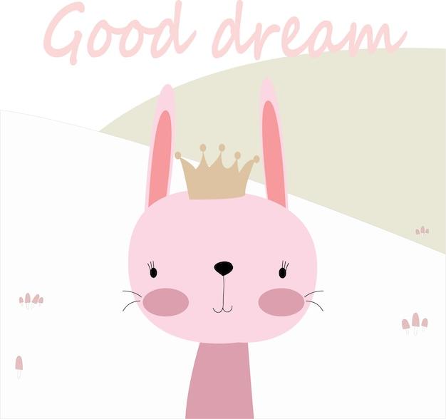 Het leuke konijn van het de lentezomer konijntje zegt goede droom