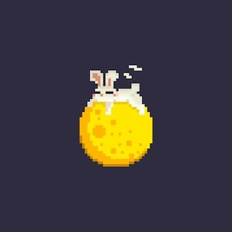 Het leuke konijn van het pixel slaap op maan