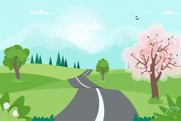 Het leuke landschap van de de lenteweg met bergen. illustratie in vlakke stijl